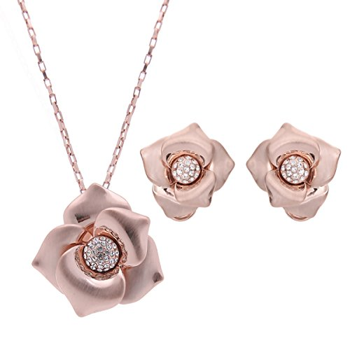 OUFO Rose Gold Plated Flower Rhinestone Necklace Earring Women Fashion Jewelry sets (Gold Plated Flower Necklace Earrings)