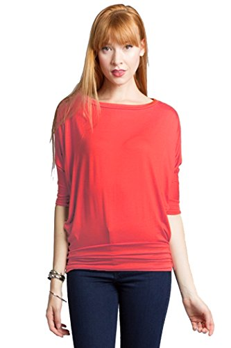 Fits Cloth Rayon Jerseyround Neck Dolman 3/4 Sleeves Drape Top Coral Pink Large -