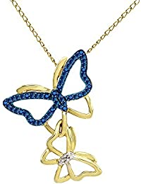 Blue and White Natural Diamond Butterfly Pendant Necklace 14k Gold Over Sterling Silver