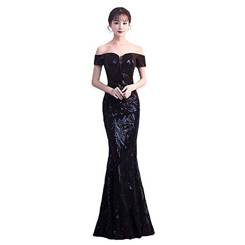 Rillsiy 2018 Nuevos Vestidos De Noche del Banquete De La Correa De La Correa De Las Mujeres Elegantes Hombros Es Una Palabra Fishtail Host Dress Dresses,Black,XL