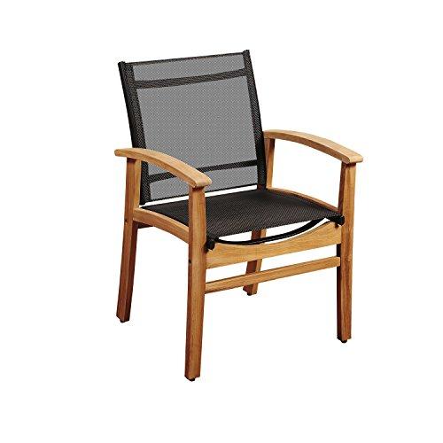 (Amazonia Teak Georgetown Black Sling Armchair)
