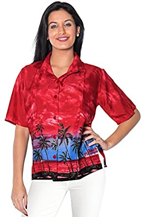 Women Hawaiian Shirt Blouses Tank Beach Top Casual Aloha Holiday