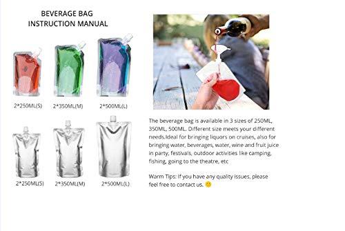 ron 350 ml agua 12 unidades 500 ml para zumo de fruta reutilizable licor 250 ml Botella de pl/ástico para bebidas con bolsa de licor con embudo de pl/ástico de aluminio