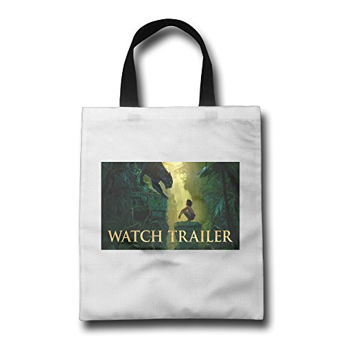 WH&SY The Jungle Book Watch Trailer Reusable Shopping Bagshopping Bags Large Size Premium Quality Tote Bag Recycle Bag Foldable Eco Shopping Bag H*W 16.93 Inch * 14.17 Inch White