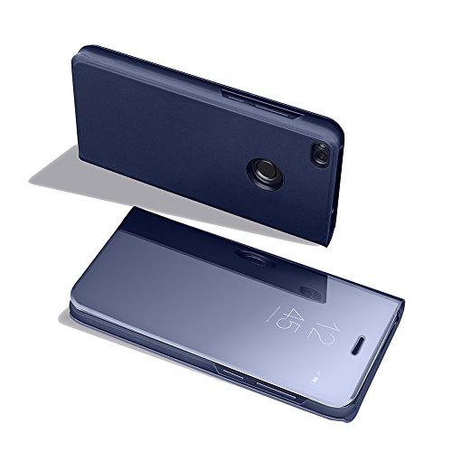 Funda Huawei P9 Lite 2017, Visión Clara Pie Smart Cover Soporte Mirror Protección Completa Rígida Borde ,Sunroyal Multifuncional Cubierta del espejo Permite ver Claramente la Clear Standing Flip Cover Azul