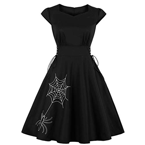 Womens Embroidery Dresses Halloween Costume Short Sleeve Trim Swagger O-Neck Retro Party Evening Swing Dress Black S