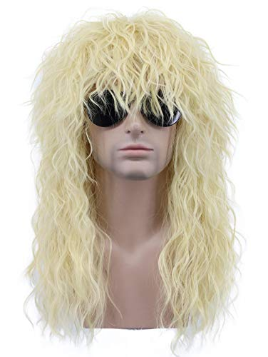 Karlery 80s 70s Mens Long Curly Blonde Heavy Metal Rocker Wig Halloween Party Wig Costume Anime Wig