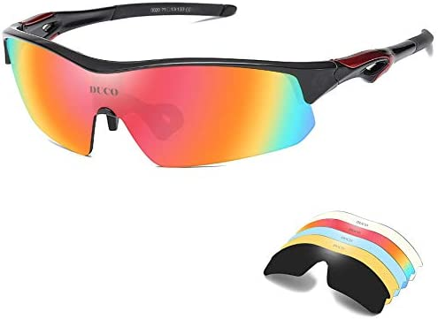 DUCO Polarized Sports Cycling Sunglasses for Men with 5 Interchangeable Lenses for Running Golf Fishing Hiking Baseball 0020
