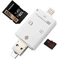 VOMHOME 3 in 1 Card Reader Flash Drive USB/ Micro USB/ Lightning Trail and Game Camera Viewer for TF/SD Card, SD Card Camera Reader Adapter for iPhone 7/7 plus/ 6s/ ipad/ MAC/ PC/ Android