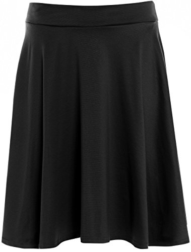 New Womens Plus Size Waist Band Flared Skater Skirts Evening Party Skirts (18/20, Black)