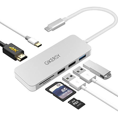 GIKERSY USB C Hub,7 in 1 Aluminum Type C Adapte...