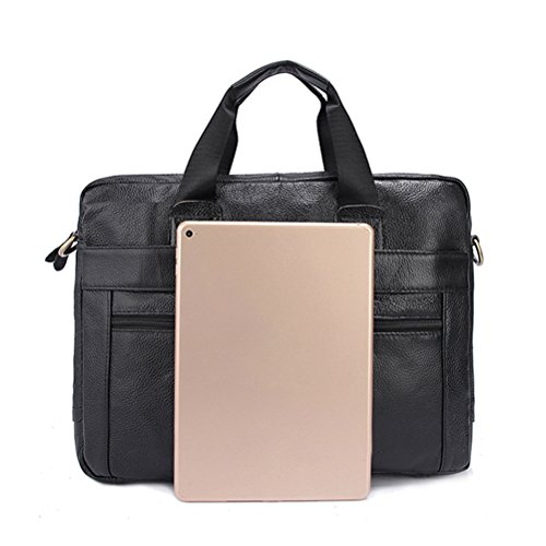 negro Mens Leather Halloween Gift Business Briefcase Zipper Cowhide Zhuhaitf Bag Unisex Bag for Shoulder Smooth gST4w6a