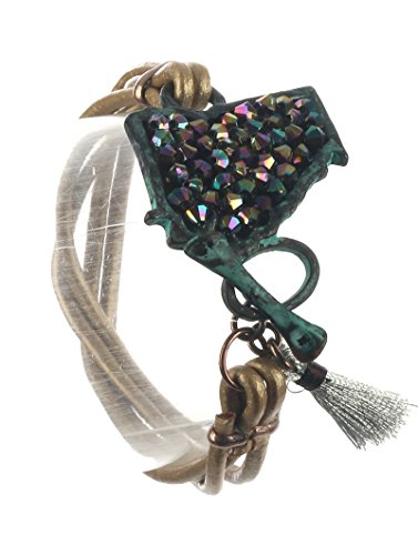 Maya's Grace State of Georgia Multi Rubber Cord Bracelet Aged Finish Metal Iridescent Stone Chip Tassel Charm Toggle Closure