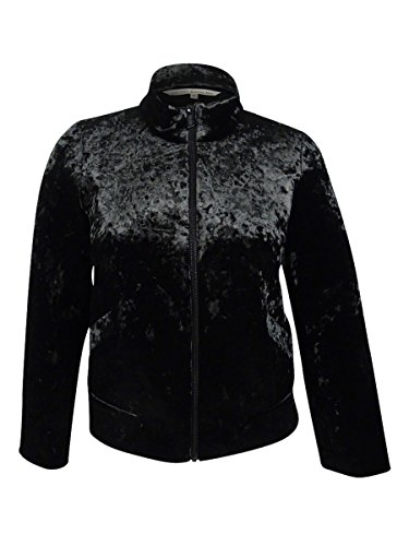 Rachel Roy Black Funnel Jacket Neck Velvet Womens Plus Combo Rachel Bomber Crushed 4frw4