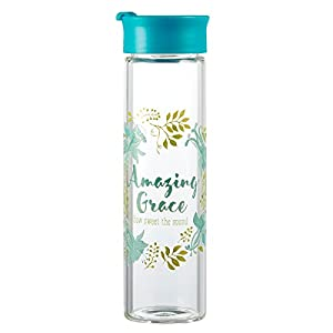Watercolor Collection Tall Glass Drink / Water Bottle: Amazing Grace