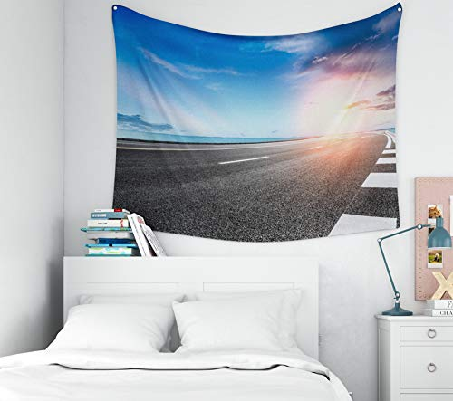 - Capsceoll Blue-Sea-Sky Tapestry,Tapestry for Flag Day, 60x50Inches Tapestries Empty Asphalt Highway and Blue sea Nature Landscape at Sunset Wall Hanging Tapestry for Décor Dorm Tapestry Living Home