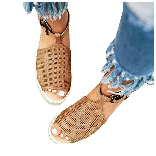 LAICIGO Women Sandals Summer,Women Fashion Dull Polish Sewing Peep Toe Wedges Hasp Sandals Flatform Shoes - Peep Toe Buckle Sandals