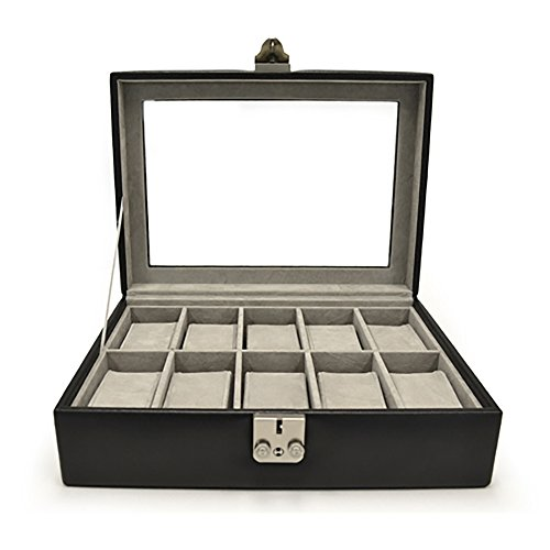 Royce Leather Debonair 10 Slot Watch Box (Black)