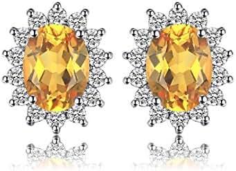 JewelryPalace Princess Diana Natural Amethyst Citrine Garnet Peridot Topaz Stud Earrings 925 Sterling Silver