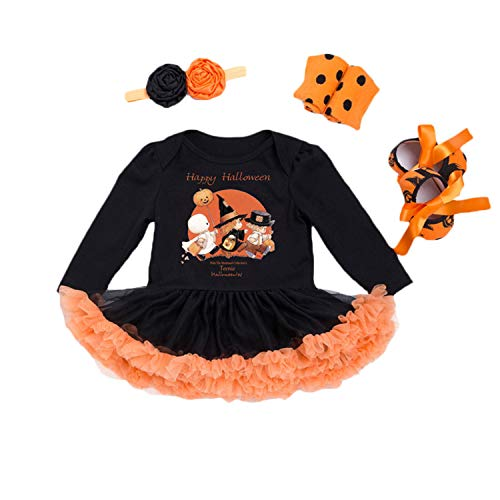 BabyPreg Baby Girls Halloween Skeleton Tutu Dress Set, Infant Pumpkin Costume (Witch Long Sleeves, S for 3-6 Months) -