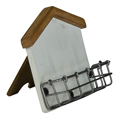 Wooden House Shaped Business Card Holder with Easel Weathered White Card Display ()
