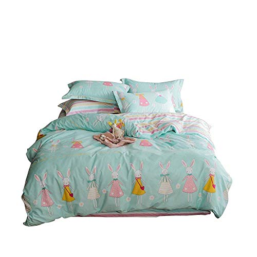 Enjoylife Reversible 3 Pieces Rabbit princess Duvet Cover Cartoon Animal Print Bedding Set 100% COTTON Quilt Cover Twin Size for Boys/Girls