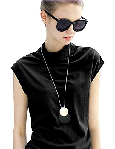 MML Women's Cotton Sleeveless Turtleneck Vest Plain T Shirt Tanks Tunic Top (XL, Black)