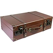 """Vintage Decor 18.7"""" Antique Faux Leather Wooden Suitcase Trunk Case with Handle, Perfect for Home Decor Shelf Showcase Display, Wedding Party Centerpiece Studio Photo Props - Large Brown"""