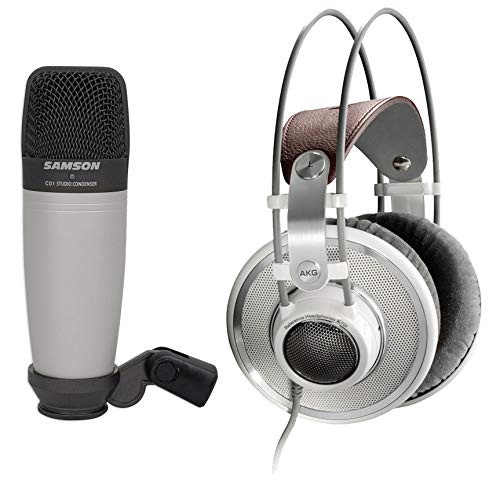 AKG K701 Open-Back Studio Reference Monitor Headphones+Samson Recording Mic