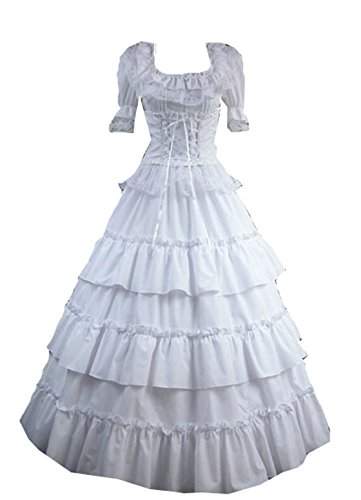 Nobility Baby Womens Lolita Royal Vintage Medieval Long Dress Cosplay Costumes (M, White) ()