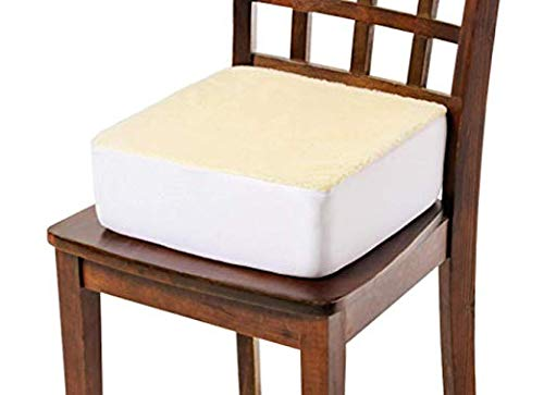 CAREACTIVE Rise with Ease Seat Cushion - Extra Thick Foam Chair Cushion - Thick Firm Chair Cushion - Cushion for Lift Chair - Extra Supportive Lift - 15.5 X 18 X 5 (Sherpa Cream) (Lifting Seat Cushion)