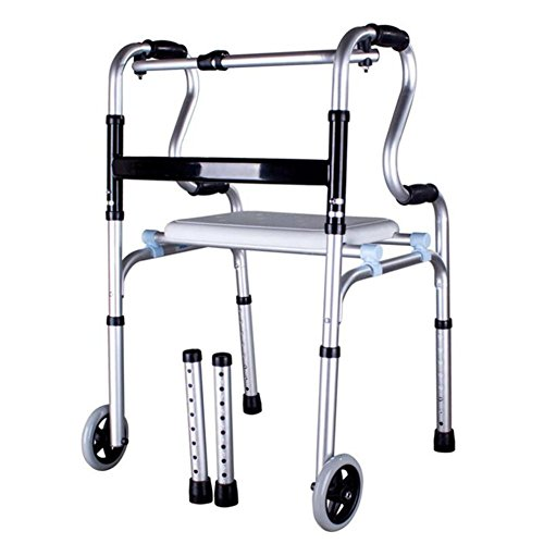 CW&T WW Elderly Walkers Aluminum Alloy Disability Rehabilitation Training Foldable Telescopic Medical Assistance Four Legs Pacers, B
