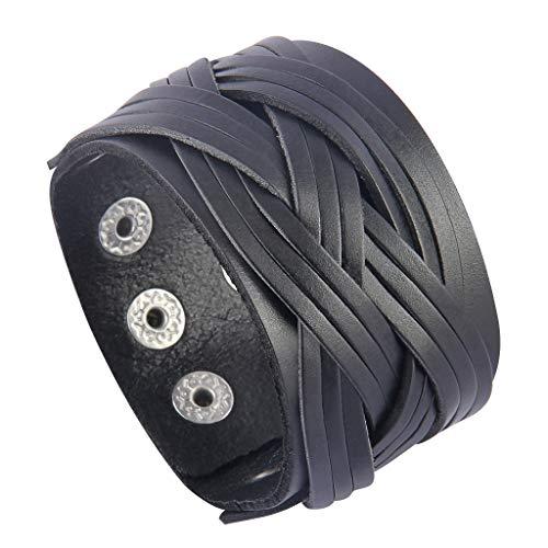 Jenia Genuine Leather Cuff Bracelet Punk Braided Bracelets Rock Leather Wristbands Religious Gothic Adjustable Wrap Bracelet for Men, Boy, Kids, Biker, Women Gifts