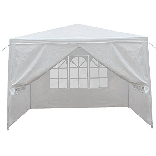 (HomGarden 10' X 10' Outdoor White Gazebo Canopy Tent with 4 Sidewalls & Windows for Party Wedding Cater Events Pavilion Beach BBQ)