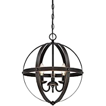 6341800 Stella Mira Three-Light Pendant, Oil Rubbed Bronze Finish with Highlights