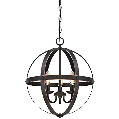 Three Light Geometric - Westinghouse Lighting 6341800 Stella Mira Three-Light Pendant, Oil Rubbed Bronze Finish with Highlights
