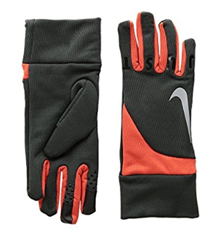Nike Gear Up Gloves Touch Screen Fingertips Anthracite/Total Orange Size YL -