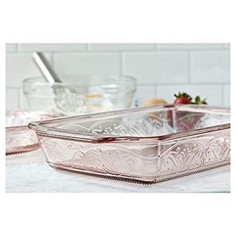 Anchor Hocking 13377ECOM Serve with Confidence and Style Laurel Embossed Bake Set in Clear, 17 lbs