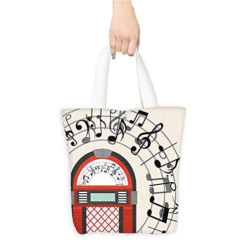Large Tote Bag Old Vintage Radio Music Box y Not work Black White Grey and Red Shopping,School and Office use W11 x H11 x D3 INCH