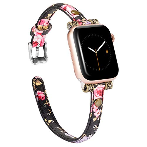 Wearlizer Leather Bands Compatible with Apple Watch Band 38mm 40mm for iWatch Womens Mens Special Slim Vintage Wristband Replacement Strap Series 5 4 3 2 1 Edition - Flower from Wearlizer