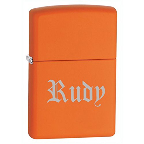 Gifts Infinity® Groomsman Gift Personalized Matte Finish Color Zippo LIGHTER - Free Laser Engraving (Orange Matte)