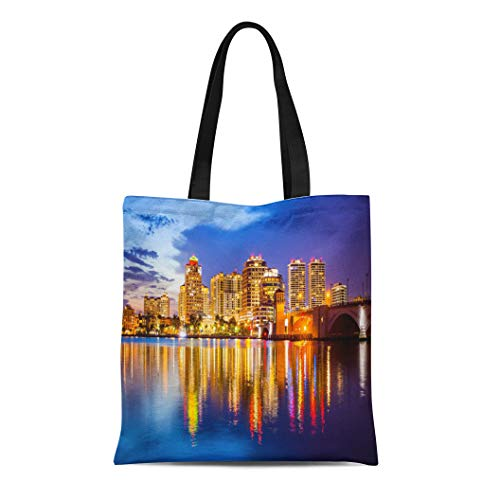 Semtomn Canvas Tote Bag West Palm Beach Florida Skyline and City Lights As Durable Reusable Shopping Shoulder Grocery Bag (West Shopping Palm Beach)