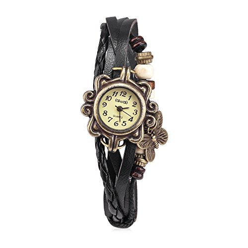 Women's Black Braided Leather Strap Watch - 3