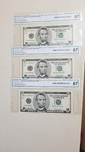 1999 $5 FEDERAL RESERVE STAR NOTES IN CONSECUTIVE ORDER-3 RAZOR SHARP CERTIFIED GEM UNCIRCULATED 67 NOTES-WONDERFUL HIGH-GRADE NOTE-VERN'S CARD & COIN $5 Gem -