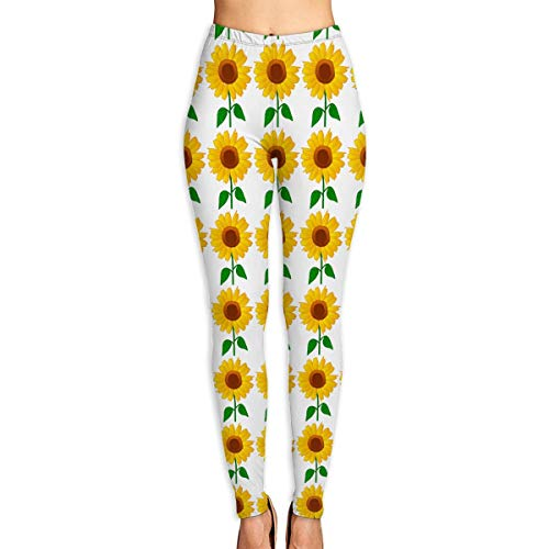 Sunflower Clipart Power Stretch Yoga & Running Pants High Rise Waist Fit Compression Tights Ladies Workout Leggings for Women White