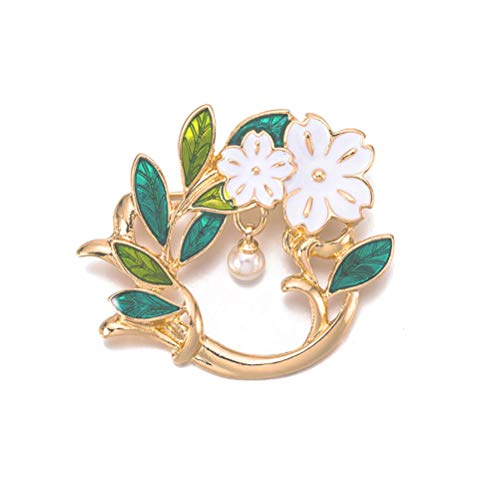 Charm Flower Of Olive Green Leaf Pearl Brooches Enamel Pin Brooches For Women