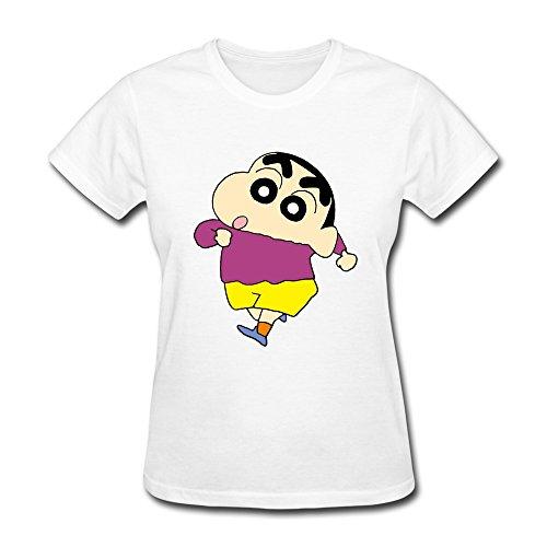 Crayon ShinchanWomensCotton White KaiOu Women T Shirt Theme