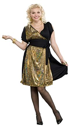 Amazon.com: 70's Disco Gold Full - Figured Costume (18-22): Clothing