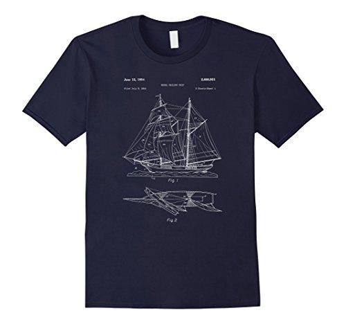 Mens Model Ship Sailboat Blueprint Design Shirt - Sail Boat Model 2XL Navy