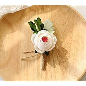 Flonding Boutonniere Buttonholes Bridegroom Groom Groomsman Men's Boutonnieres Best Man Boutineer with Pin for Wedding Homecoming Prom Suit Decoration 27